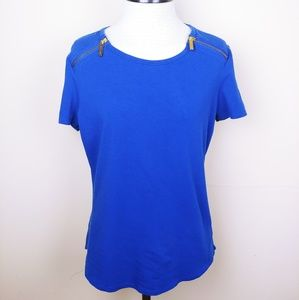 Michael Kors Blue Top with Zippers on Shoulders